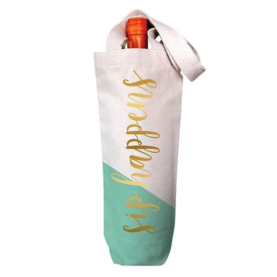 """""""Sip Happens"""" - Wine Tote Bag"""