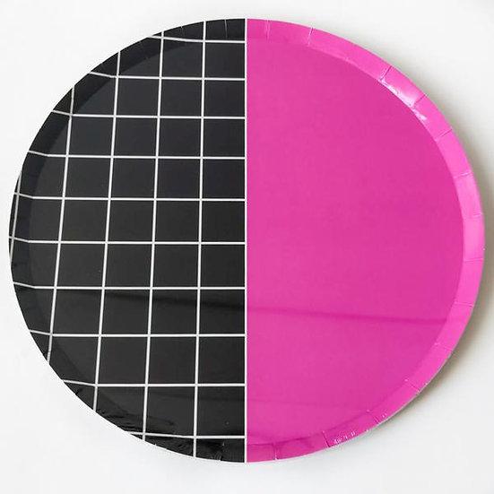 Black & Pink Grid Paper Plate Pack (Large)