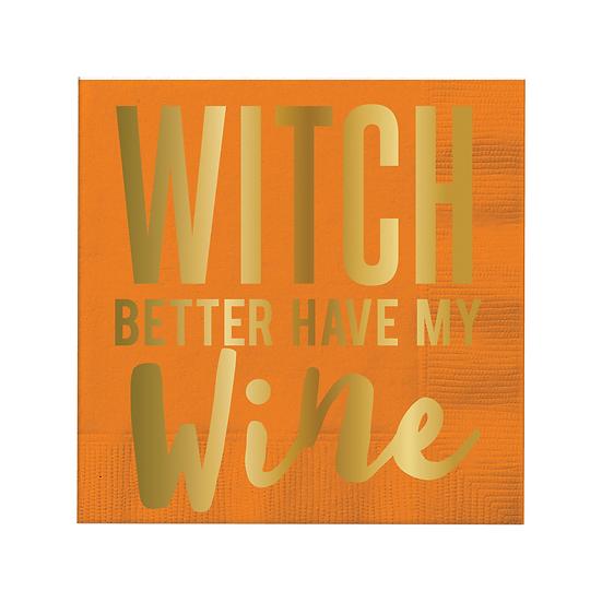 """Witch Better Have My Wine"" Beverage Napkin"