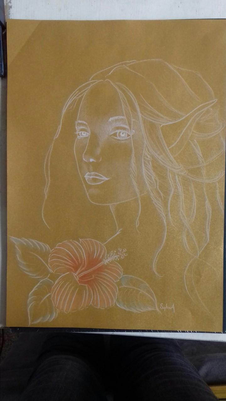 Fée et hibiscus