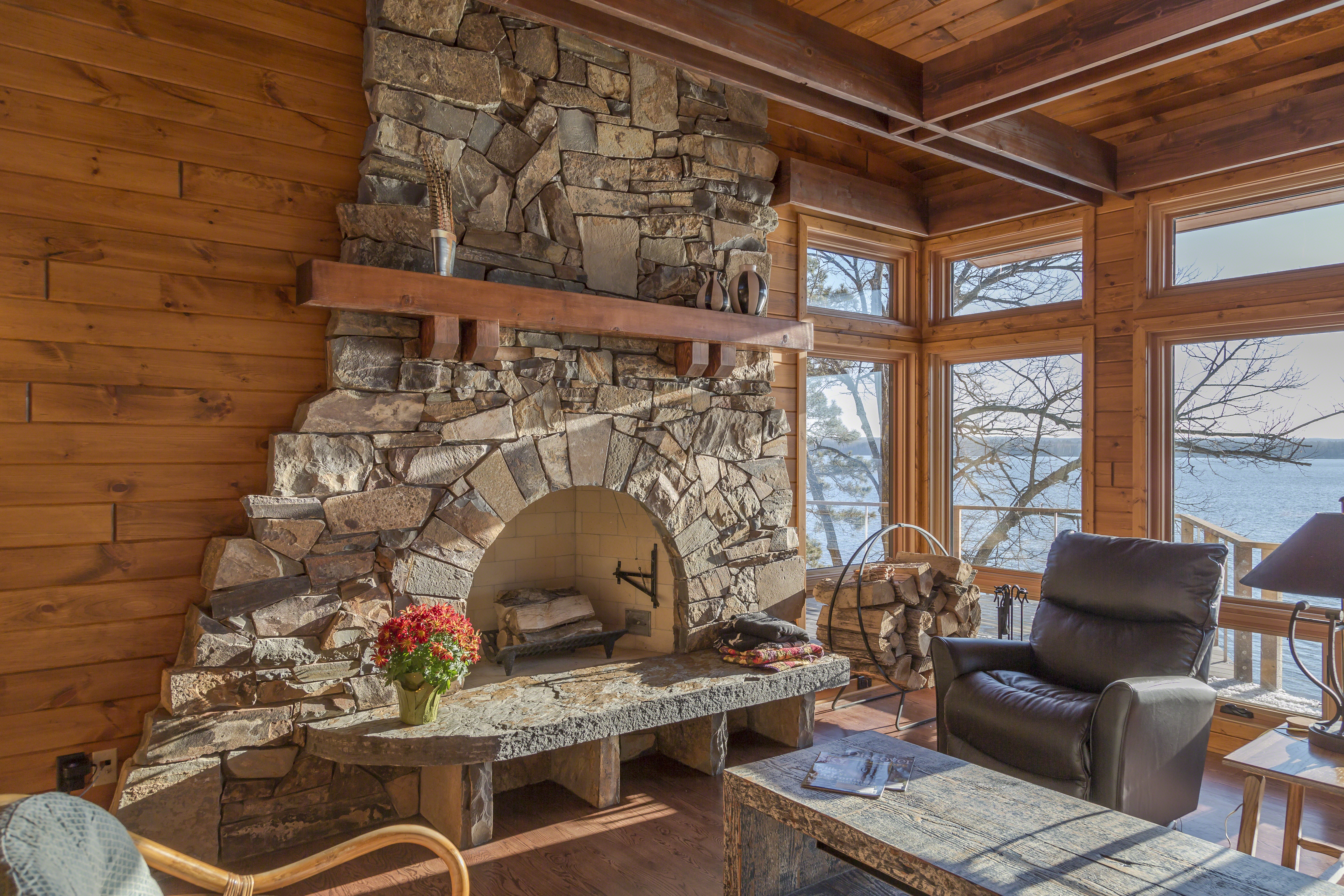 Stone Fireplace Cry of the Loon