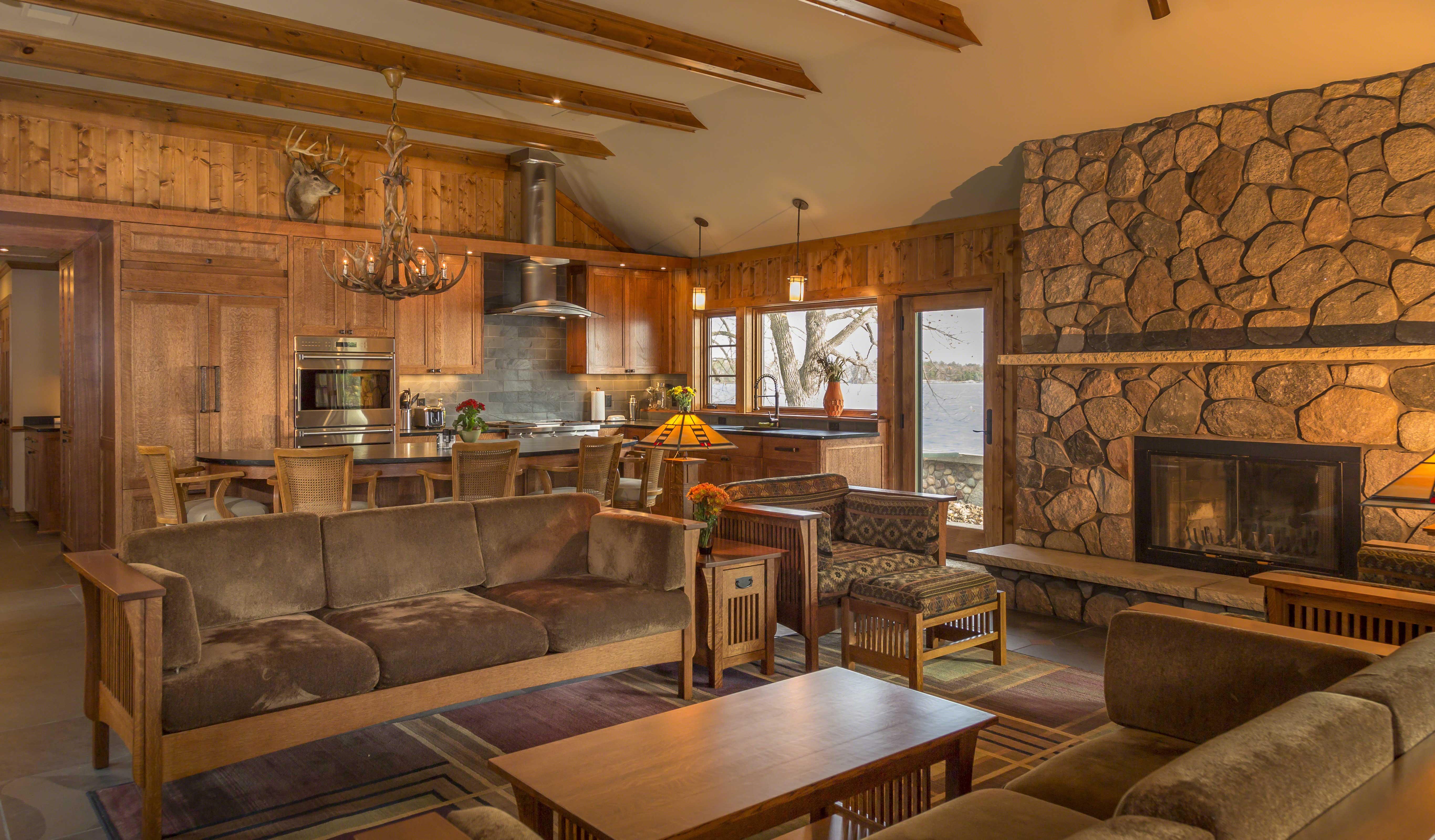 Living Room Cross Lake Cabin