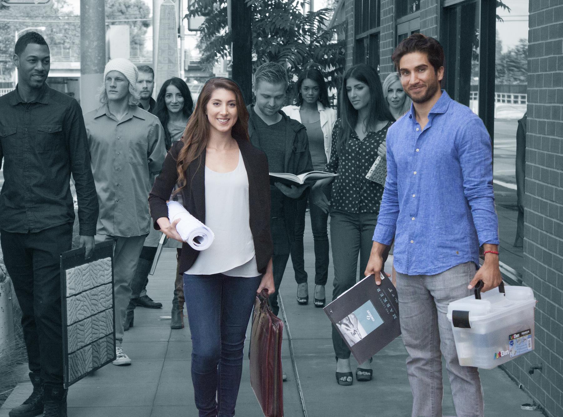 Students walking smiling