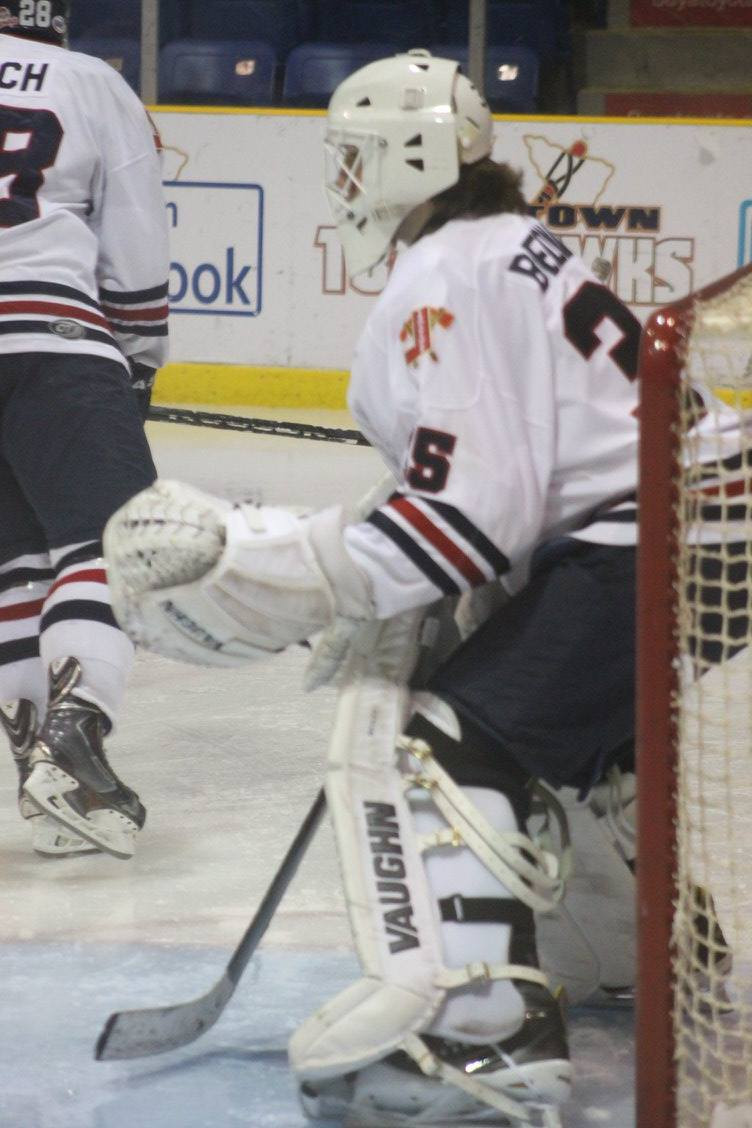 Ryan Bednard in net for the Johnstown Tomahawks