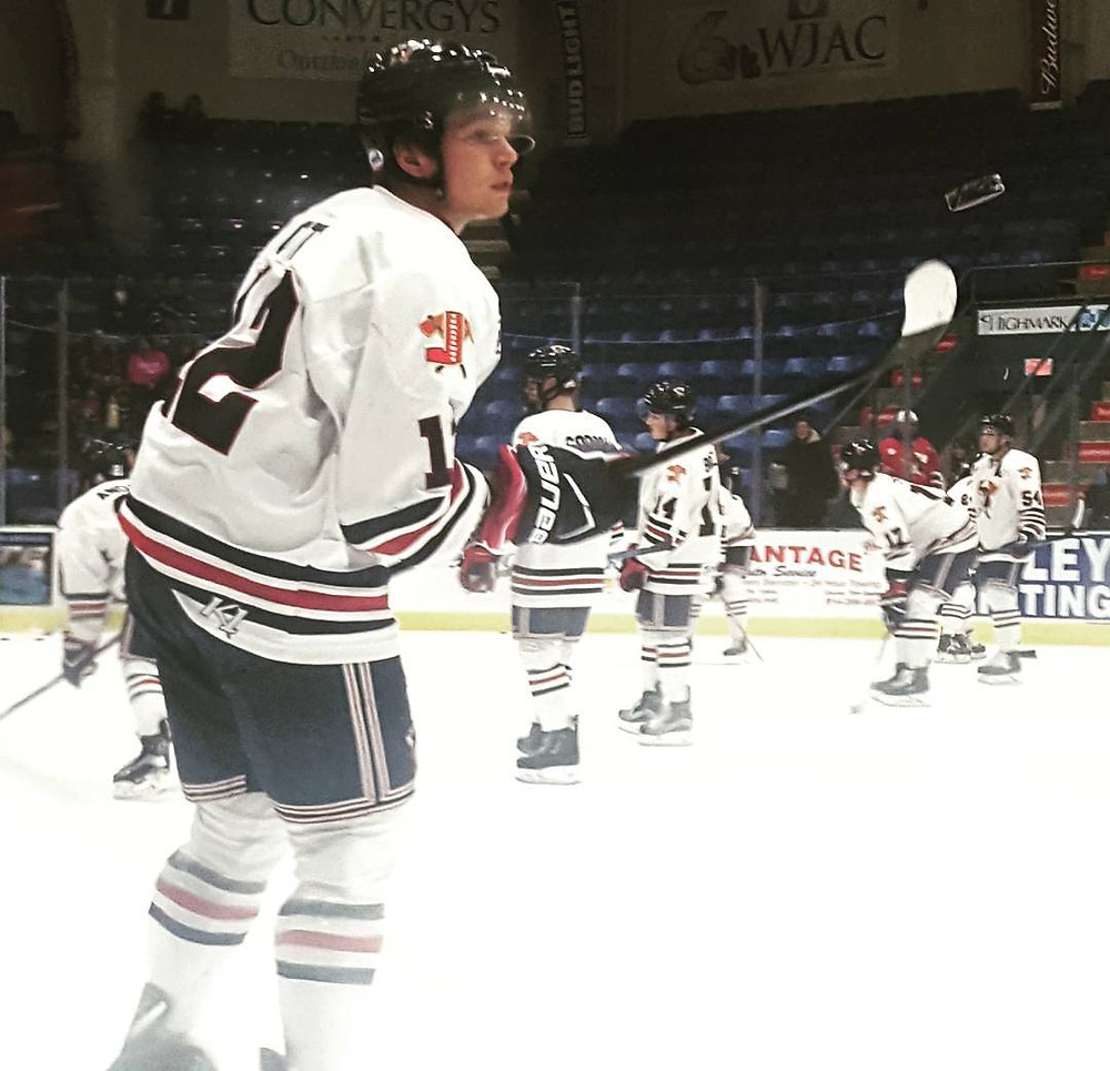 Donovan Ott warming up for the Johnstown Tomahawks