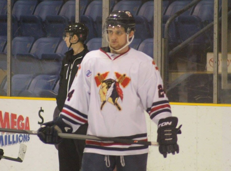 Alex Jaeckle getting ready for a game in 2014 for the Johnstown Tomahawks