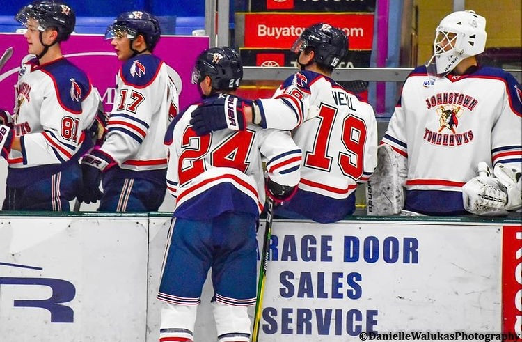 Players for the Johnstown Tomahawks gather at their bench to celebrate a goal against the New Jersey Titans