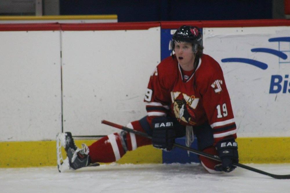 Jordan Watt (Johnstown Tomahawks) getting ready for a hockey game against the Michigan Warriors