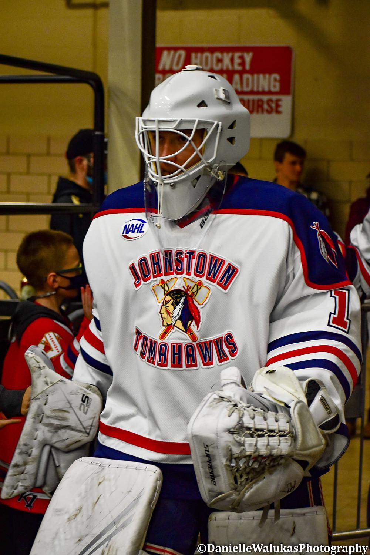 Sam Evola for the Johnstown Tomhawks during the 2020-2021 NAHL regular season