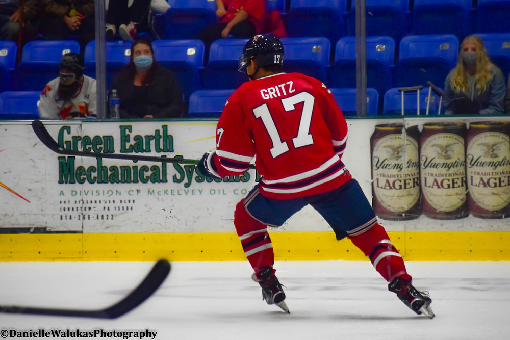 Johnstown Tomahawks forward Alex Gritz in the middle of action during a NAHL preseason game.