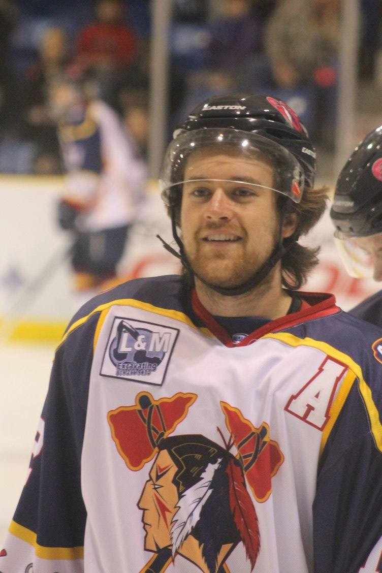 Johnstown Tomahawks' defenseman Mitch Hall getting ready for home game.