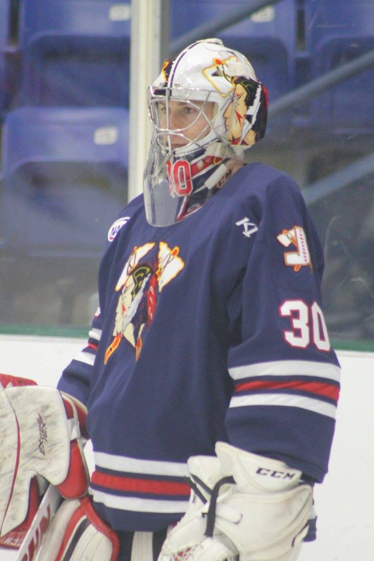 Goaltender Drew Hotte playing for the Johnstown Tomahawks of the NAHL