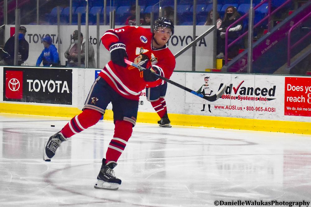 Andrew Murphy of the Johnstown Tomahawks taking warmups before a NAHL regular season hockey game.