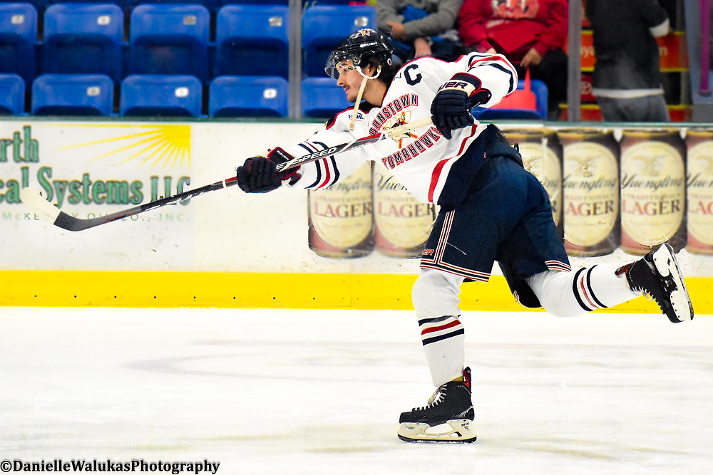 Chris Trouba warming up before a Johnstown Tomahawks game