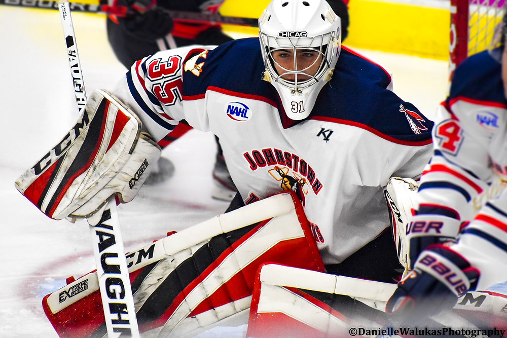 Alex Tracy during a game in net with the Johnstown Tomahawks during the 2019-20 season