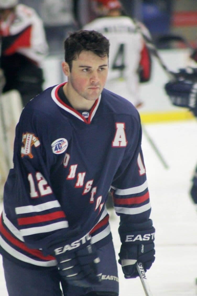 Andrew Romano warming up before a game with the Johnstown Tomahawks
