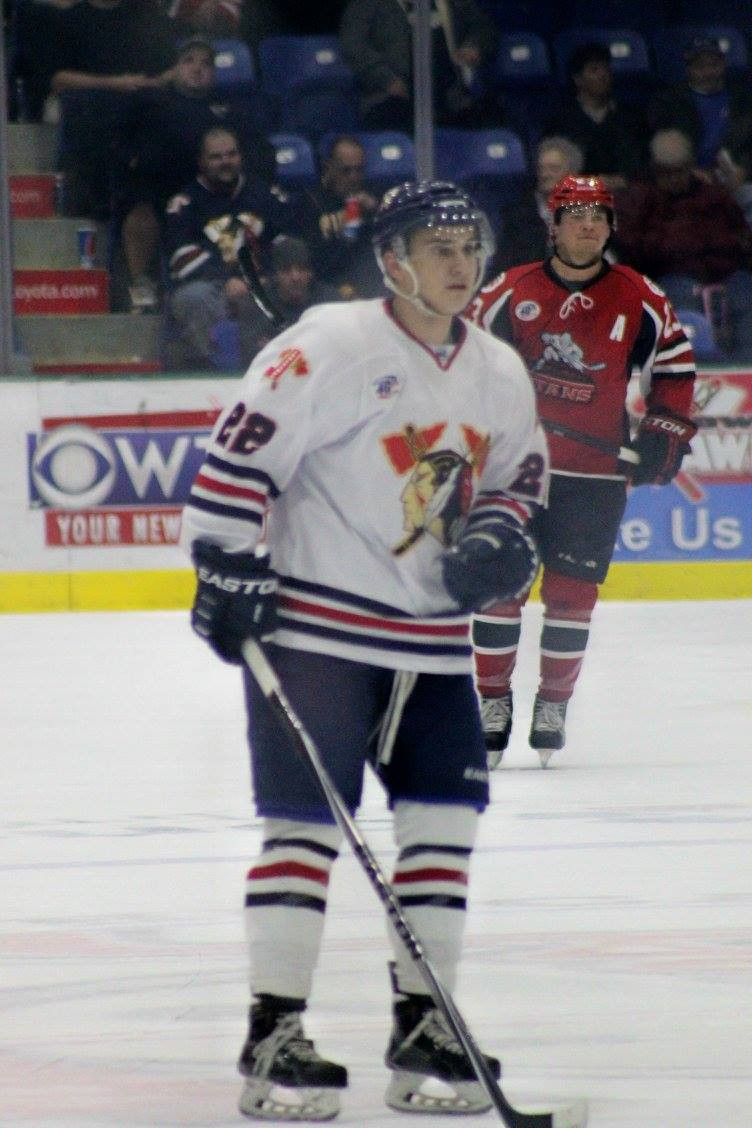Johnstown Tomahawks Casey Linkenheld in the middle of play