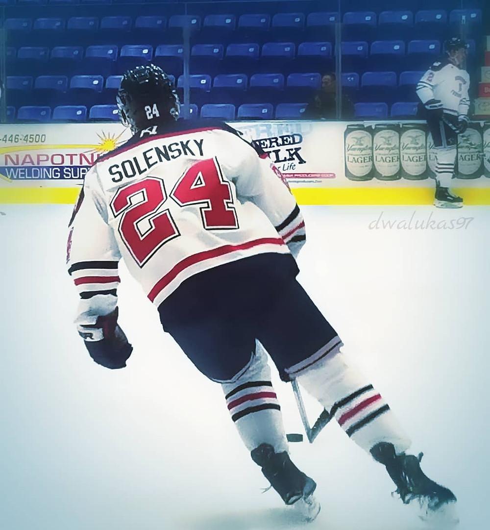Samuel Solensky warming up for the Johnstown Tomahawks
