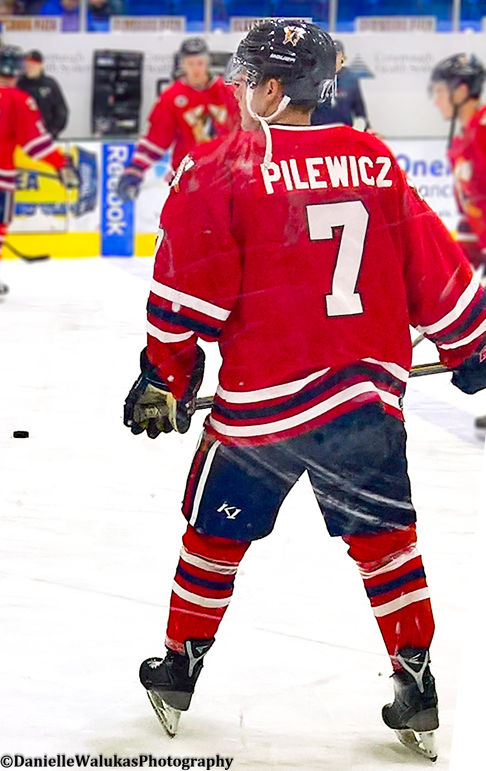 ADAM PILEWICZ warming up for the Johnstown Tomahawks