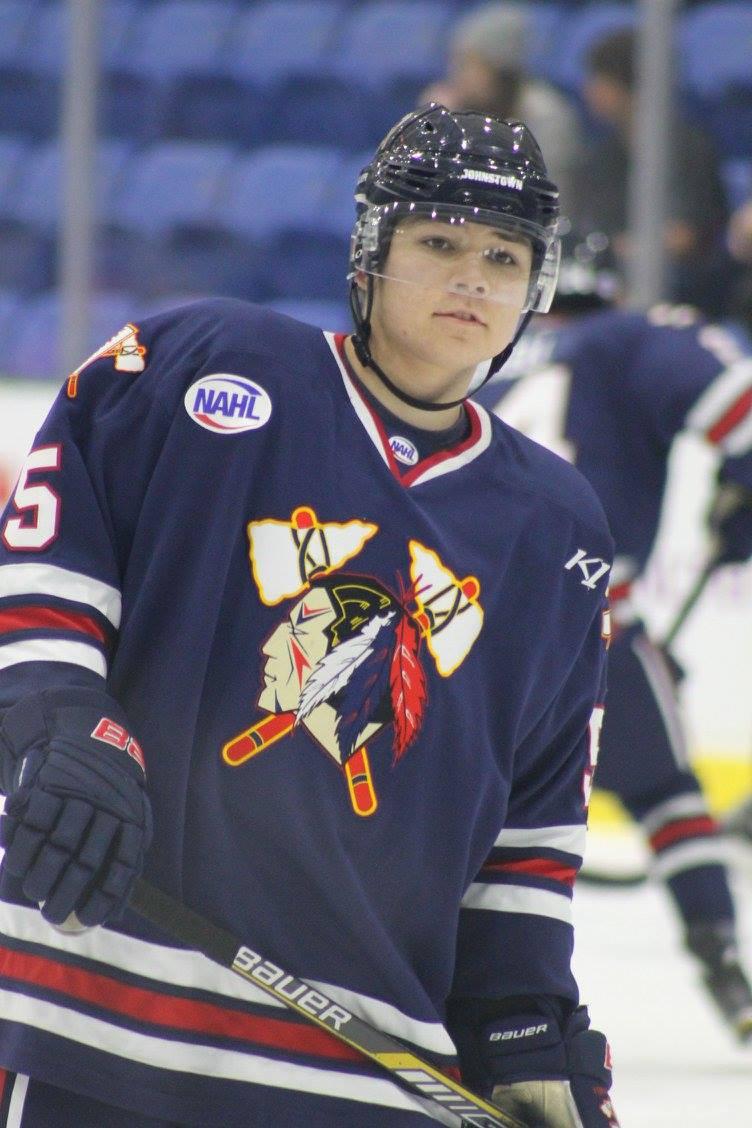 Samuel Solenski warms up for the Johnstown Tomahawks