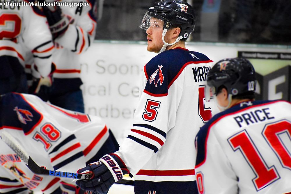 Andrew Murphy for the Johnstown Tomahawks taking warm ups prior to NAHL regular season action.
