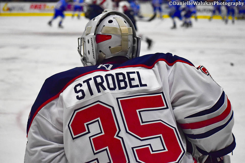Connor Strobel for the Johnstown Tomahawks picked up his first junior hockey win in the NAHL