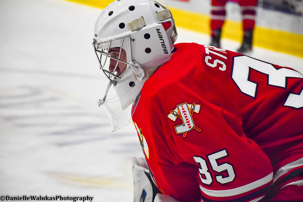 Connor Strobel taking warmups for the Johnstown Tomahawks in a NAHL preseason game.