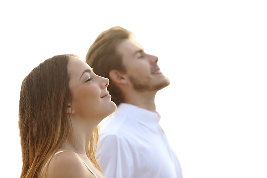 image of a couple breathing in fresh air