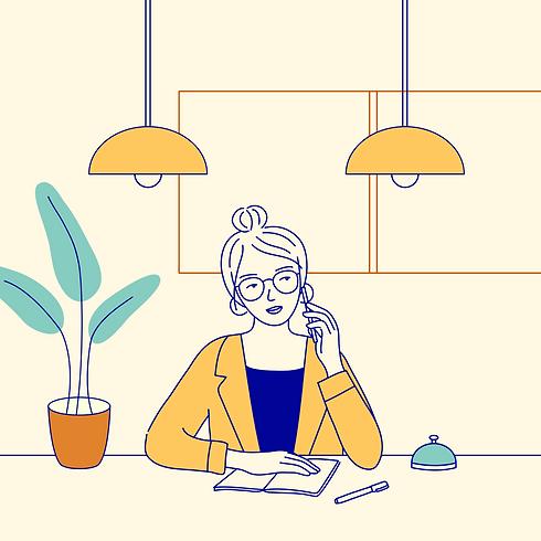 mixkit-receptionist-at-a-front-desk-talk