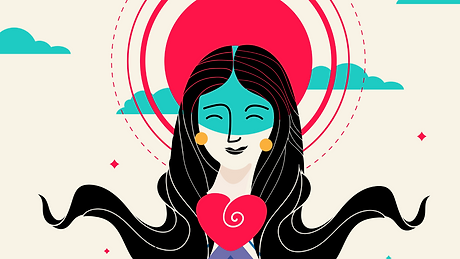 mixkit-happy-woman-with-a-big-red-heart-