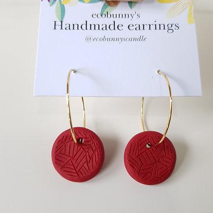 Circular button earrings / dark red 1.8cm