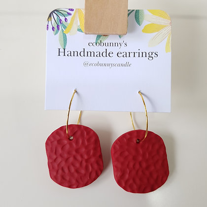 Rectangular button earrings / dark red 3cm