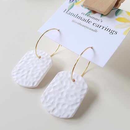 Rectangular button earrings / clean white 3cm