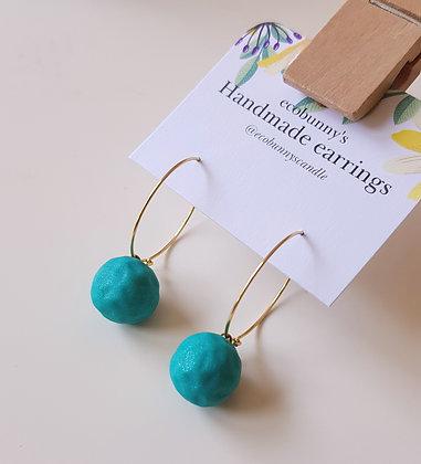 Sparkle blue-green ball earrings