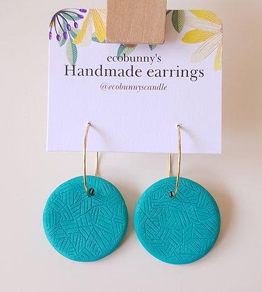 Circular button earrings / blue-green 2.8cm