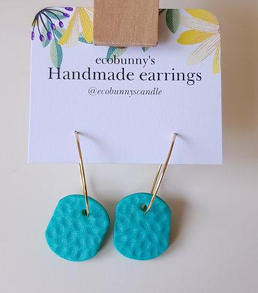 Rectangular button earrings / blue-green 2cm