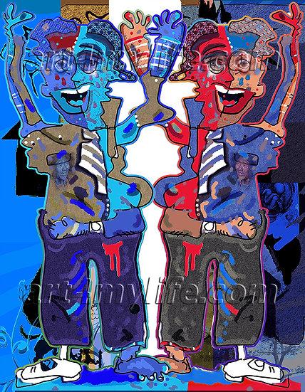 cuadros originales título: LOS GEMELOS EN EL ATENTADO. Efraín Ricardo Uribe Moya. art4
