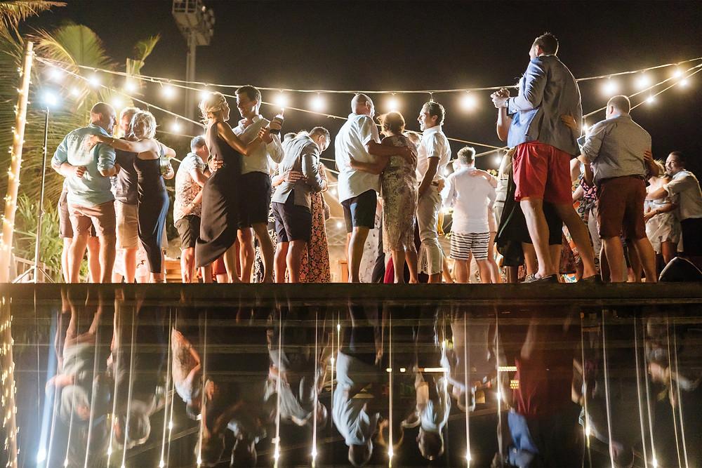 Dancing at a wedding reception in Bali
