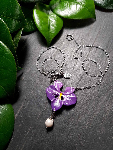 """Collier floral """"Violette à la perle"""" - 2954"""
