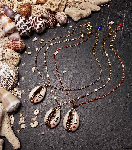 CHAÎNE de CHEVILLE coquillage doré, 974, couleurs au choix - 2921