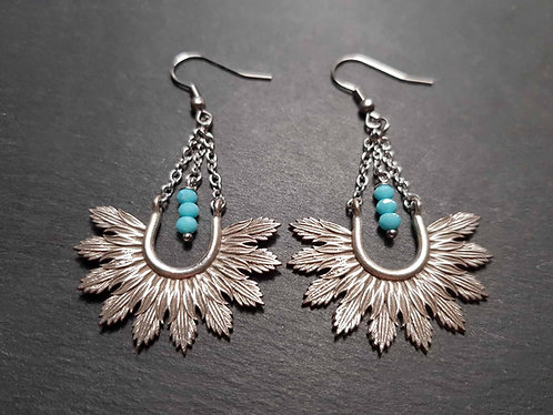 "Longues boucles ""rayonnaises"", modèle plumes, mini perles turquoise - 3148"