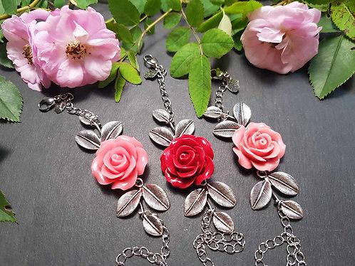 Bracelet rose & feuillages, couleur AU CHOIX - 2607