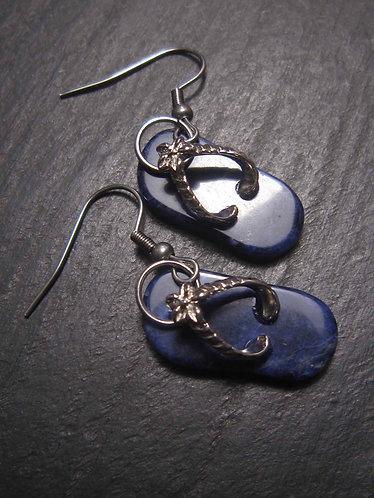 """Boucles originales """"Savates dé doigts !"""" / Lapis lazuli - 2781"""