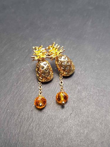 Boucles clous petits ananas dorés & perles - 3149