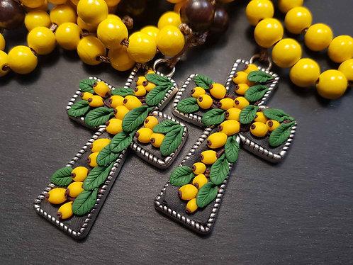 Grand chapelet décoratif croix ornée & perles bois, BIBASSES