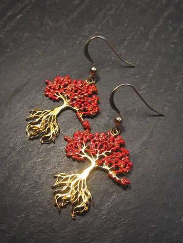 Boucles délicates or gold filled et vermeil flamboyant arbre exotique