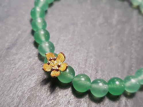 Bracelet original élastique perles aventurine et lotus d'or – 2852