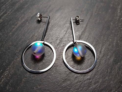 Longues boucles clou originales & stylisées perles lumineuses – 3027