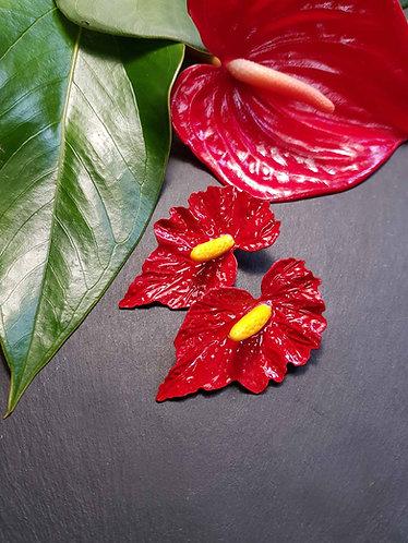 Boucles exotiques GÉANTES fleurs d'anthurium ROUGE -3121