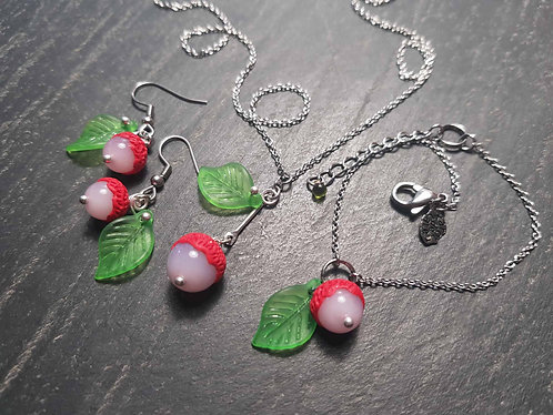 Parure complète letchi minimaliste bracelet, collier, boucles -2909